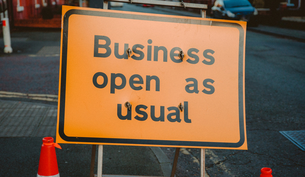 Signage of an open business during COVID-19