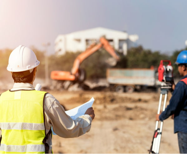 Civil engineers at construction site