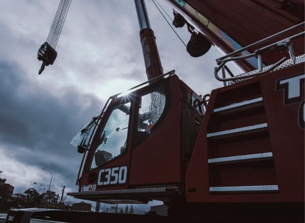 Closeup of a two way crane