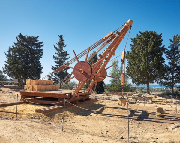 Greek wooden crane used for construction