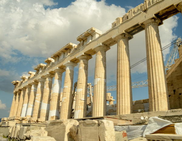 View of the Parthenon in the Acropolis complex in Athens